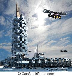 Futuristic city architecture with skyscraper, ring structure...