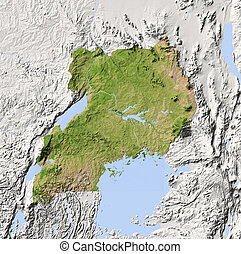 Uganda, shaded relief map - Uganda. Shaded relief map....