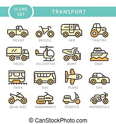 Set color line icons of transport