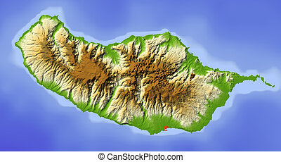 Madeira, shaded relief map - Madeira. Shaded relief map....