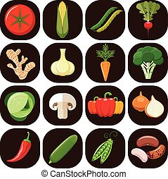 Set of different kinds of vegetable - Vegetarian food icons....