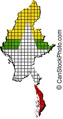 Myanmar map with flag insidejpg - Myanmar map with flag...