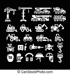 Set icons of construction equipment isolated on black