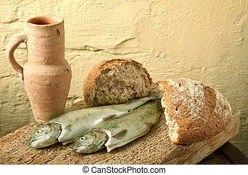 Fish of Galilee - Fish, bread and wine as symbols of Jesus...