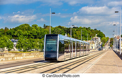 Wireless tram on Pont Wilson Bridge in Tours - France