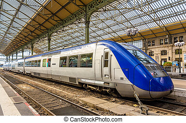Regional express train at Tours station - France