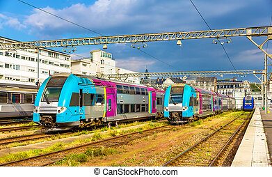 Regional express trains at Tours station - France
