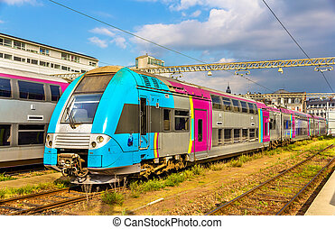 Double-deck regional train at Tours station - France