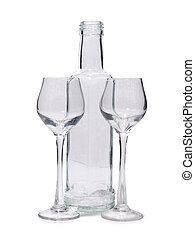 Bottleneck - Bottles and glasses on a white background