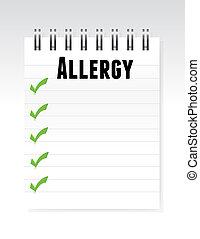 allergy list note paper illustration design graphic