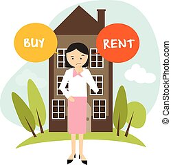 buy or rent house home apartment woman decide vector...