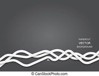 Vector papercut lines background - Abstract vector black...