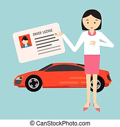 woman holding show driver driving license in front car...