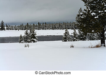 Madison River Yellowstone National Park - Snowing on the...