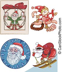 Santa, a mix of separate pictures