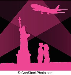 statue of liberty in new york vector with couple