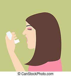 woman asthma holding inhaler illnes vector cartoon flat...