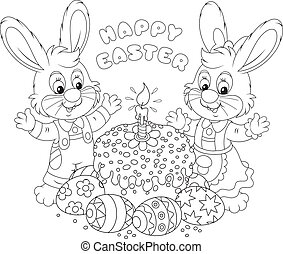 Happy Easter - Happy little rabbits with a decorated Easter...