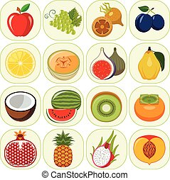 Set of different kinds of fruit ico - Vegetarian food icons....