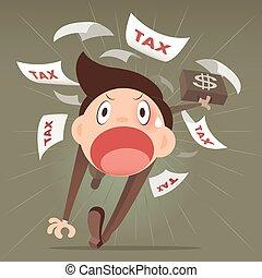 Tax avoidance - Businessman running away from tax