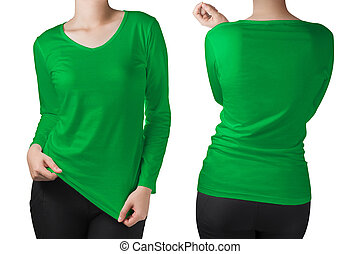 woman body in a green long sleeves t-shirt isolated on white.