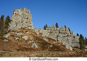 Tustan - fortress in Carpathian Mountains, historical and...