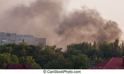 City on Fire - result of the military conflict in Donetsk
