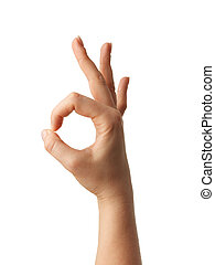 Human hand gesture is all right everything is OK. Isolated.