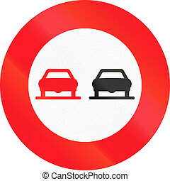 Road sign used in Switzerland - No overtaking