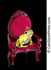 Frog prince on throne - White-lipped tree frog prince with...