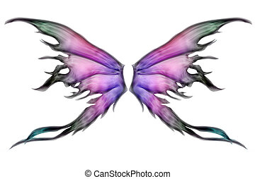 Pair of wings - Pastel colored set of fairy wings on white