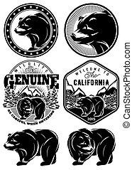 set of stylish retro badges with be