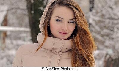 Portrait of a Beautiful Woman in Winter - portrait of a...