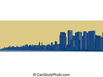 Contour of the big city on a yellow background