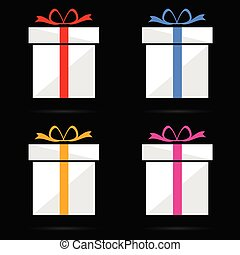 gift box vector on black background