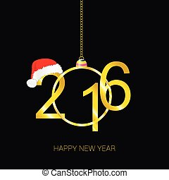 happy new 2016 year vector with red hat - happy new 2016...