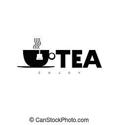 gozar, té,  vector, negro, señal