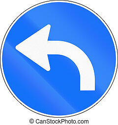 Road sign used in Switzerland - Turn left ahead
