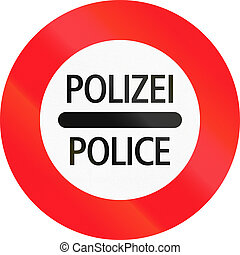 Road sign used in Switzerland - Police checkpoint, Polizei...
