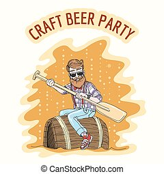 Craft Beer Party.eps - Craft Beer party Emblem. Hipster with...