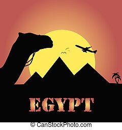 egypt trip vector in colorful