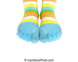 Feet and socks - Color socks on the woomens feet