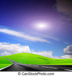 solar route - abstract scene road under solal sky