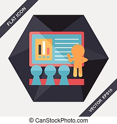 Speaker at business workshop flat icon with long...
