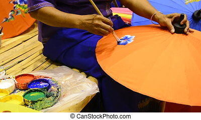 Woman painting umbrella. - Woman painting on Handmade...