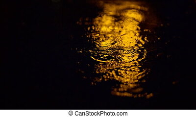 Raindrops in a Puddle - raindrops on a puddle at night