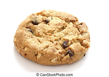 Single chocolate chip cookies on white background