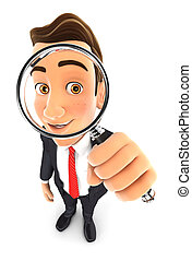 3d businessman magnifying glass