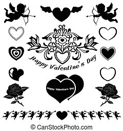 Valentine emblem and icons vector