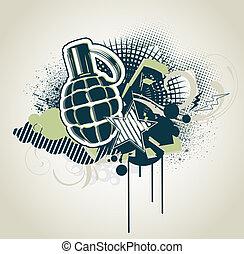 Decorative urban background - illustration of styled...